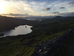 At the top of the Healy Pass, County Kerry is bathed in the evening light