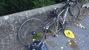My one and only puncture, the one and only time I rode on a cycle lane!